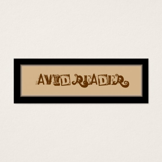 Avid Reader Bookmark Mini Business Card