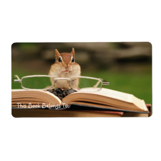 Avid reader chipmunk bookplate