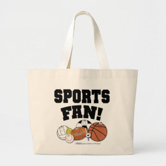 Avid Sports Fan- Sports Ball Characters Large Tote Bag