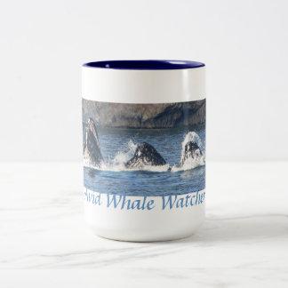 Avid Whale Watcher Humpback Whales bubble net feed Two-Tone Coffee Mug
