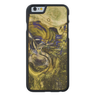 Avignon Olive Green Abstract Art Carved Maple iPhone 6 Slim Case