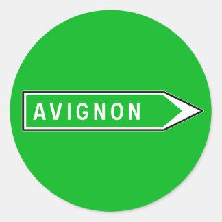 Avignon, Road Sign, France Classic Round Sticker