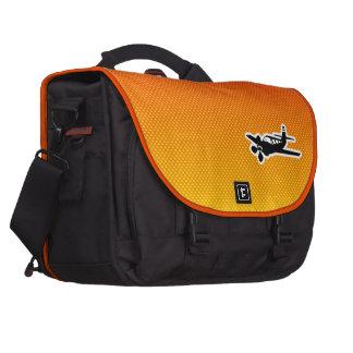 Avión amarillo-naranja bolsa para ordenador