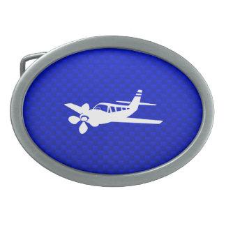 Avión azul hebilla de cinturón oval