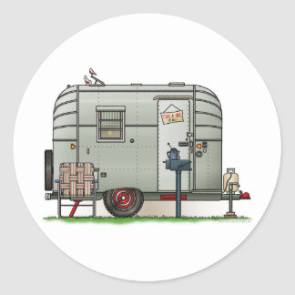 Avion Camper Trailer Classic Round Sticker