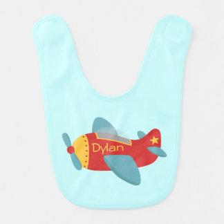 Avión colorido y adorable del dibujo animado babero para bebé
