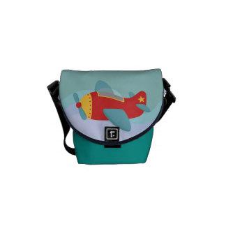 Avión colorido y adorable del dibujo animado bolsas messenger