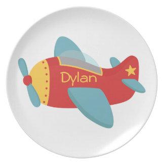 Avión colorido y adorable del dibujo animado plato de cena