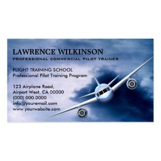 Avión comercial en tarjetas de visita de la
