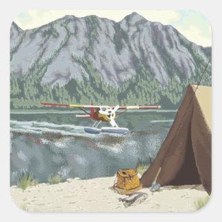 Avión de Alaska Bush y viaje de la pesca Pegatina Cuadrada
