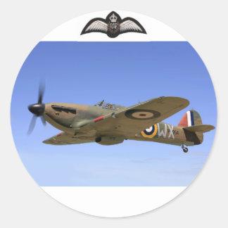 Avión de combate del huracán WW2 Pegatina Redonda