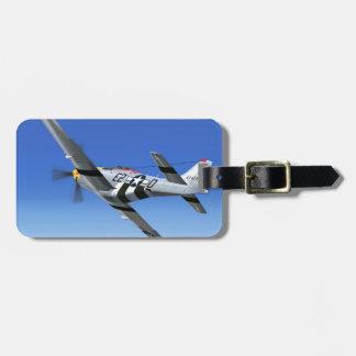 Avión de combate del mustango de WWII P51 Etiqueta De Equipaje