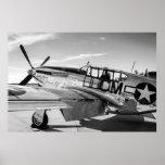 Avión de combate del mustango WWII de P51C Poster