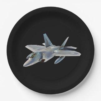 Avión de combate del rapaz F-22 en negro Plato De Papel De 9 Pulgadas
