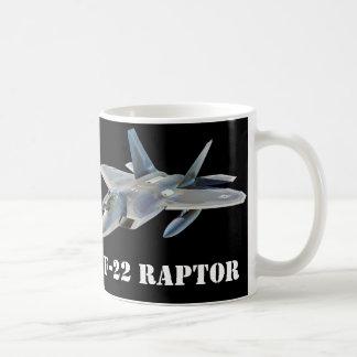Avión de combate del rapaz F-22 en negro Taza