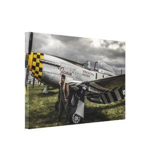 Avión de combate norteamericano del mustango P51 d Impresión En Lona