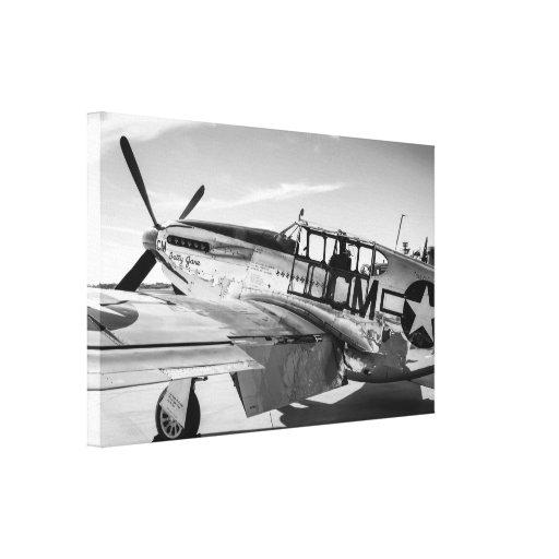 Avión de combate norteamericano del mustango P51 d Lienzo Envuelto Para Galerías