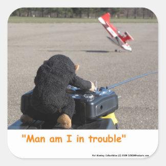 Avión de los papás RC del mono del mascota que se Pegatina Cuadrada