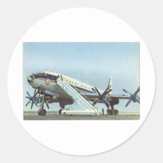 AVIÓN DE PASAJEROS de Aeroflot Tu 114 Etiquetas Redondas