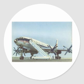 AVIÓN DE PASAJEROS de Aeroflot Tu 114 Etiqueta Redonda