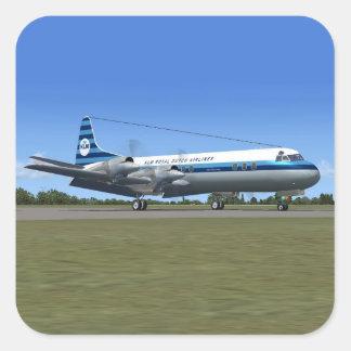 Avión de pasajeros de Lockheed Electra Pegatina Cuadrada