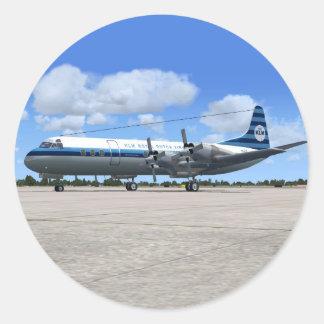 Avión de pasajeros de Lockheed Electra Pegatina Redonda