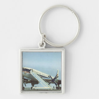 AVIÓN DE PASAJEROS de RUSIA Aeroflot Tu 114 Llavero Cuadrado Plateado