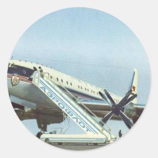 AVIÓN DE PASAJEROS de RUSIA Aeroflot Tu 114 Pegatinas Redondas