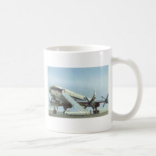 AVIÓN DE PASAJEROS de RUSIA Aeroflot Tu 114 Taza De Café