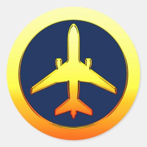 Avión de pasajeros del oro pegatina redonda