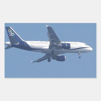 Avión de pasajeros griego pegatina rectangular