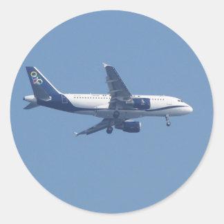 Avión de pasajeros griego pegatina redonda
