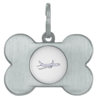 Avión de pasajeros placas de mascota