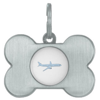Avión de pasajeros placa de nombre de mascota