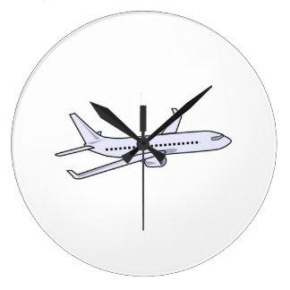 Avión de pasajeros reloj redondo grande