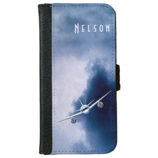 Avión de reacción azul en cajas de la cartera del carcasa de iPhone 6