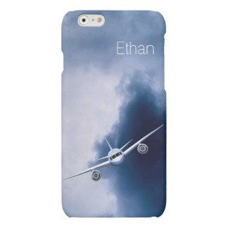 Avión de reacción azul en el iPhone mate del