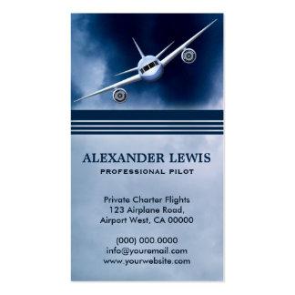 Avión de reacción azul en tarjetas de visita del