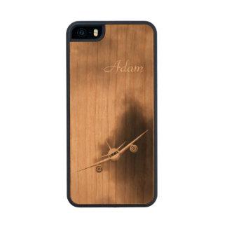 Avión de reacción en los casos de madera 5 o 5S Funda De Madera Para iPhone 5