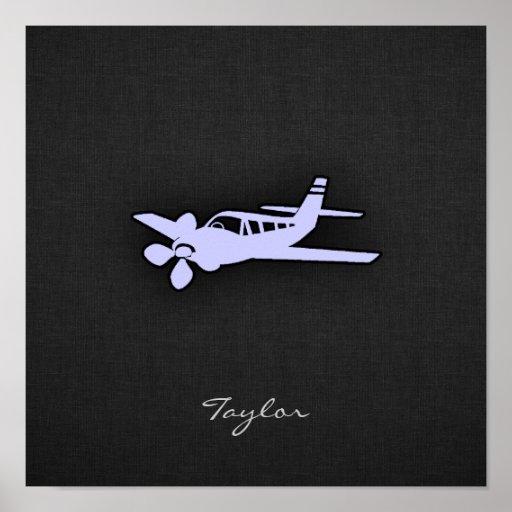 Avión del azul de la lavanda posters