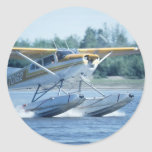 Avión del barco pegatina redonda