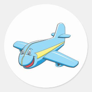 Avión del dibujo animado pegatina redonda