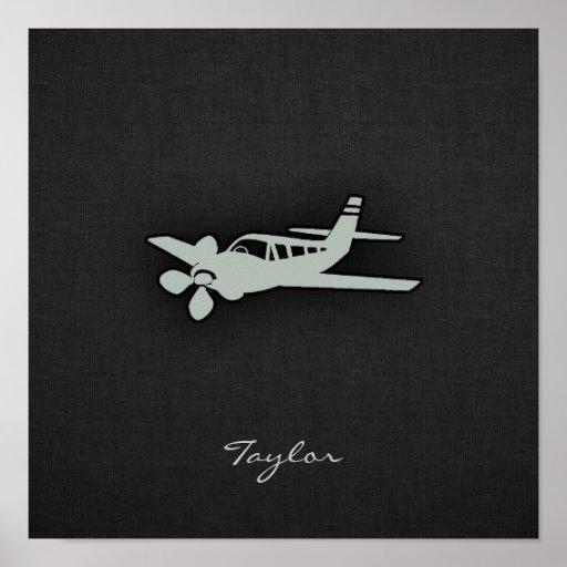 Avión del gris de ceniza poster