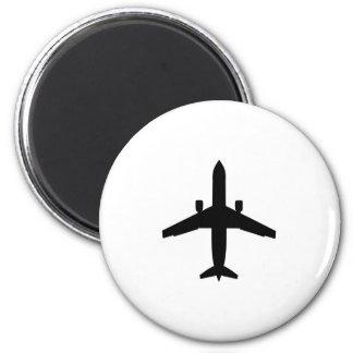 avión del pasajero imán redondo 5 cm