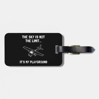Avión del patio del cielo etiquetas para maletas