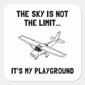 Avión del patio del cielo pegatina cuadrada