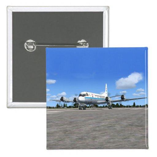 Avión del tiempo de P3 Orión NOAA Pin Cuadrada 5 Cm