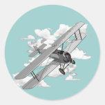 Avión del vintage etiqueta redonda