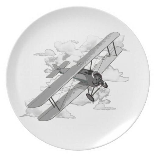 Avión del vintage platos