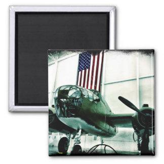 Avión patriótico de los militares WWII con la Imán Cuadrado